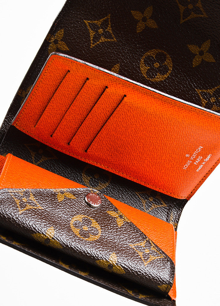 "Louis Vuitton Brown and Orange Epi Leather Monogram Compact ""Marie-Lou"" Wallet interior"