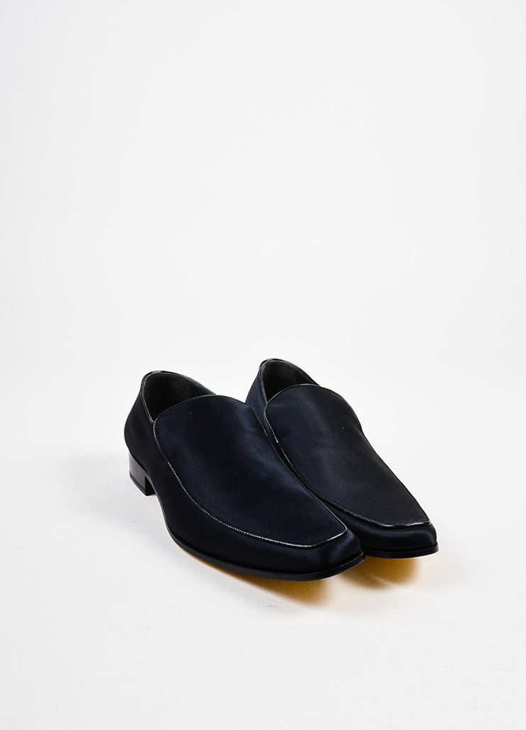 Men's Black Dsquared2 Satin Leather Trim Dress Loafers Front