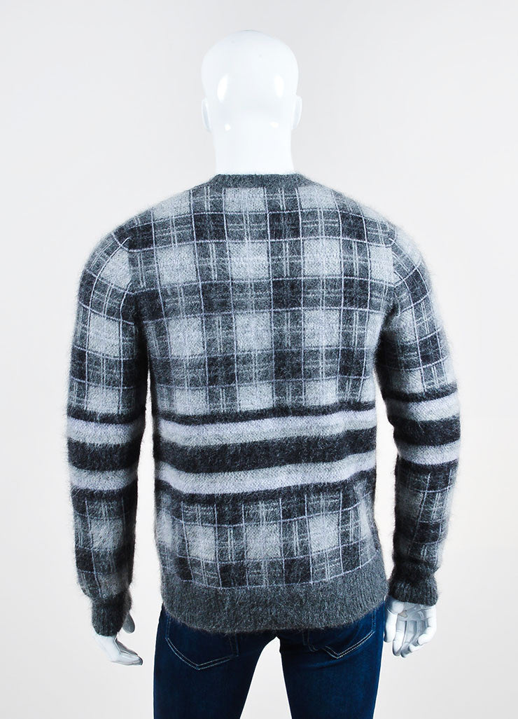 Men's Givenchy Grey Mohair Wool Plaid Crew Neck Pull Over Sweater Back