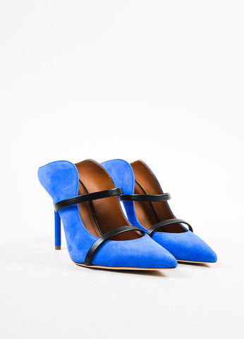 Royal Blue Malone Souliers Suede Leather Strap Pumps Front