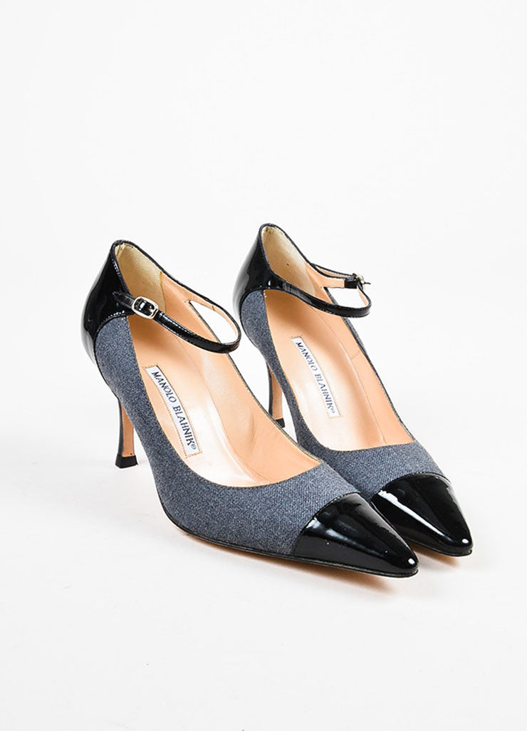 Manolo Blahnik Grey and Black Wool and Patent Leather Pointed Toe Pumps Frontview
