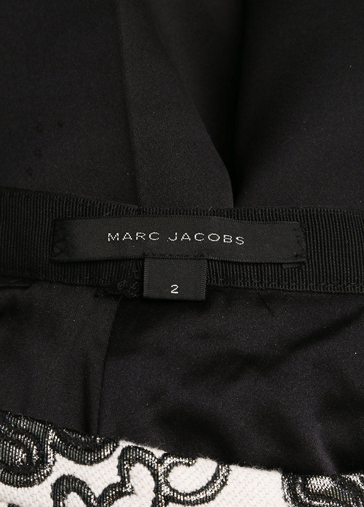 Marc Jacobs Black and Cream Wool and Satin Contrast Brocade Paisley Trouser Pants Brand
