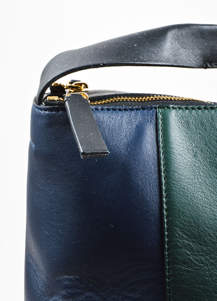 "Navy, Green, and Black Marni Lamb Leather Colorblock Hobo ""Pod"" Bag Detail 2"