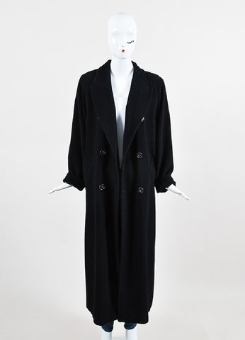 Max Mara Black Wool Oversized Double Breasted Ankle Length Coat Frontview