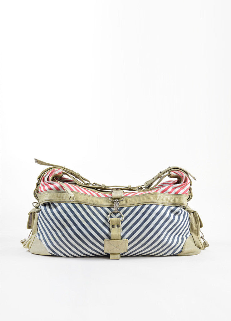 Red, Blue and Gray McQ by Alexander McQueen Striped Canvas Shoulder Tote Bag