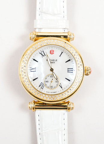 "Michele Gold Toned and Diamond White Alligator Leather Band ""Caber"" Watch Detail"
