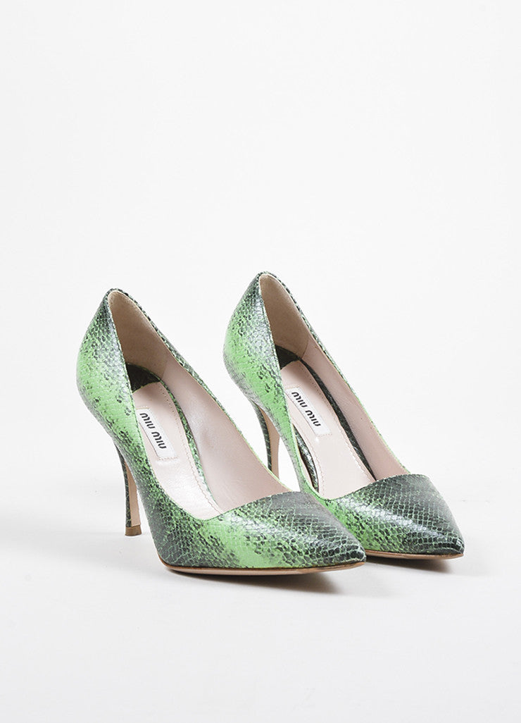 Miu Miu Green and Black Leather Embossed Snakeskin Printed Pointed Toe Pumps Frontview