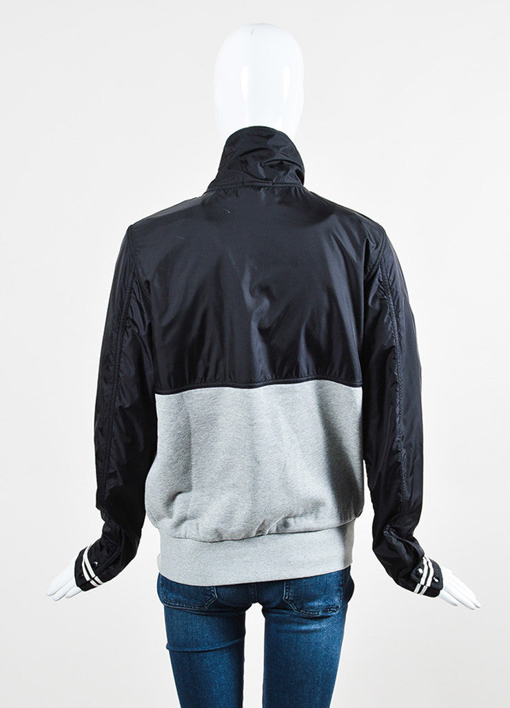Moncler Black and Grey Knit Nylon Zip Up Windbreaker Jacket Backview