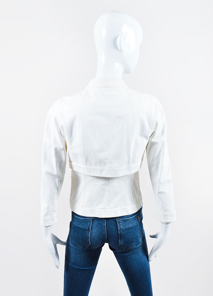 White Narciso Rodriguez Leather Collarless Jacket Backview
