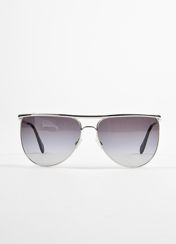"Oliver Peoples for Balmain Silver Toned ""Balmain 2"" Aviator Sunglasses Frontview"