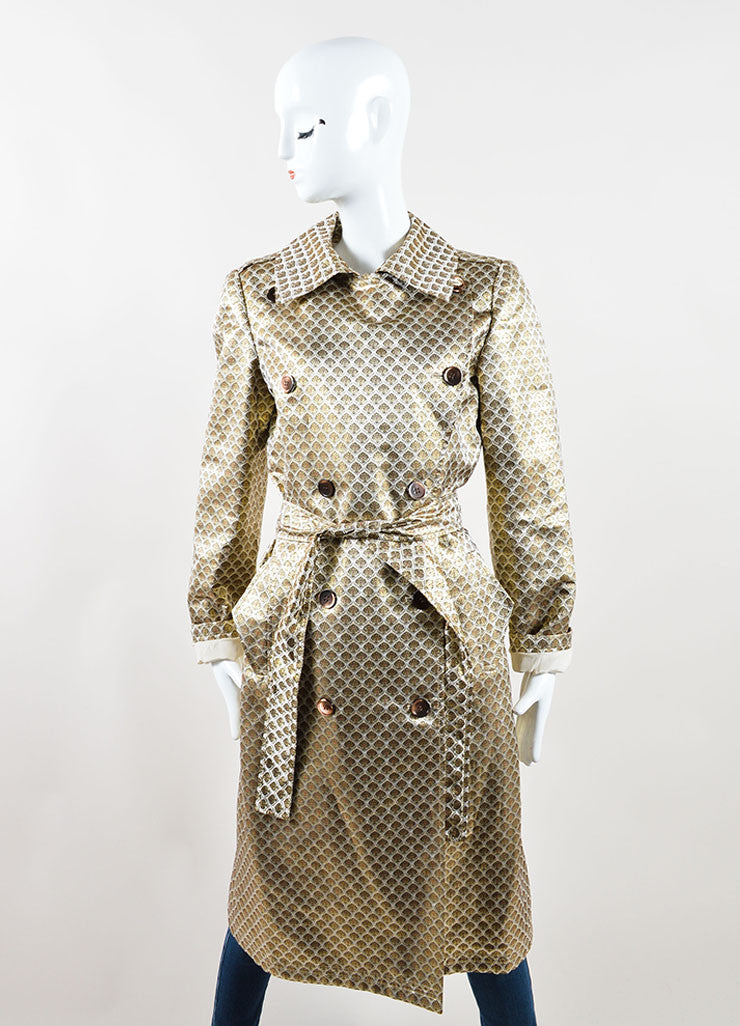 Oscar de la Renta Beige and Gold Silk Brocade Belted Double Breasted Trench Coat Frontview