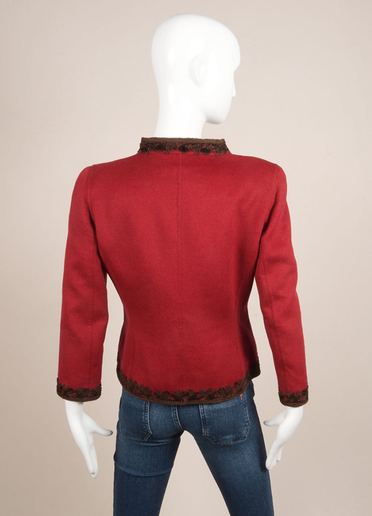 Oscar de la Renta Red and Brown Wool, Angora, and Cashmere Embroidered Zip Jacket Backview