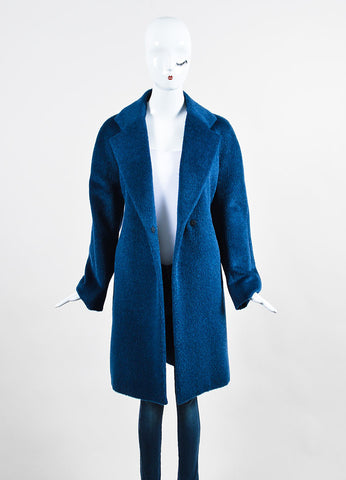 Blue Piazza Sempione Llama Wool Long Coat Frontview