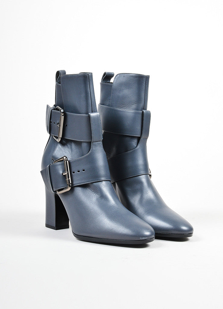 "Grey Pierre Hardy Leather Dual Buckled ""Anthra"" Ankle Boots Sideview"