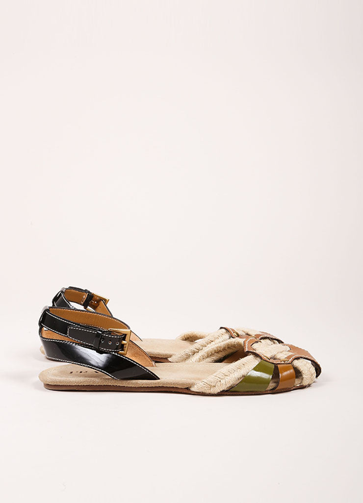 Prada Brown and Multicolor Leather Woven Patent Trim Strappy Flat Sandals Sideview