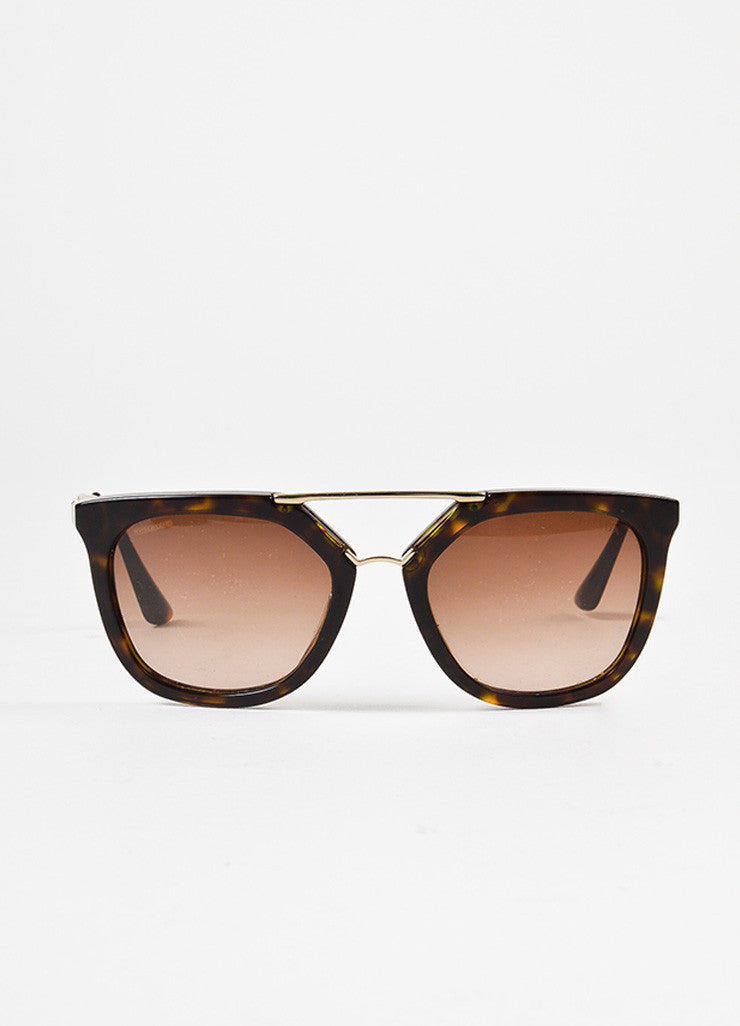 Prada Brown Tortoise Shell Gold Toned Square Two Bar Sunglasses Frontview