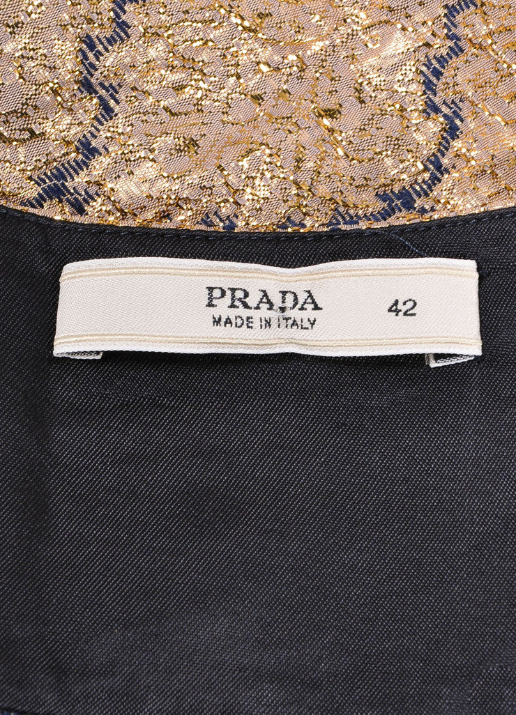Prada Gold Metallic and Blue Brocade Embroidered Ruffle Trim Pocketed Skirt Brand