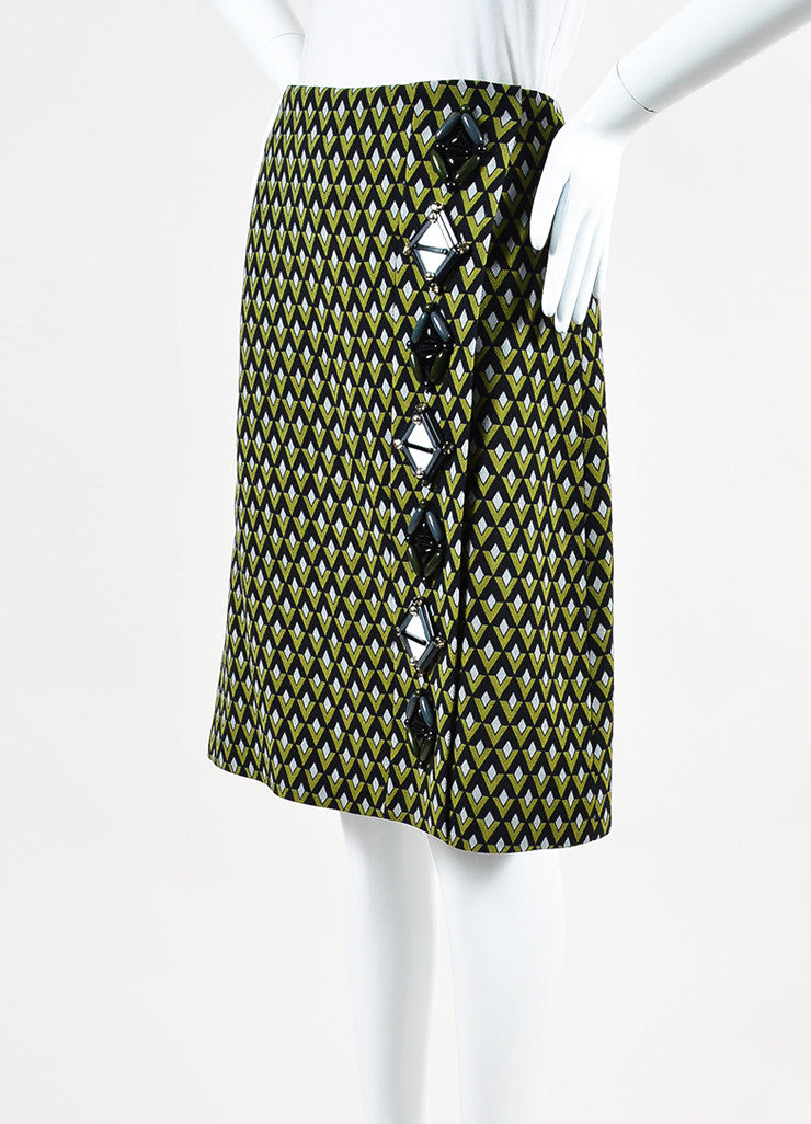 Prada Green and Black Woven Geometric Beaded Wrap A Line Knee Length Skirt Sideview