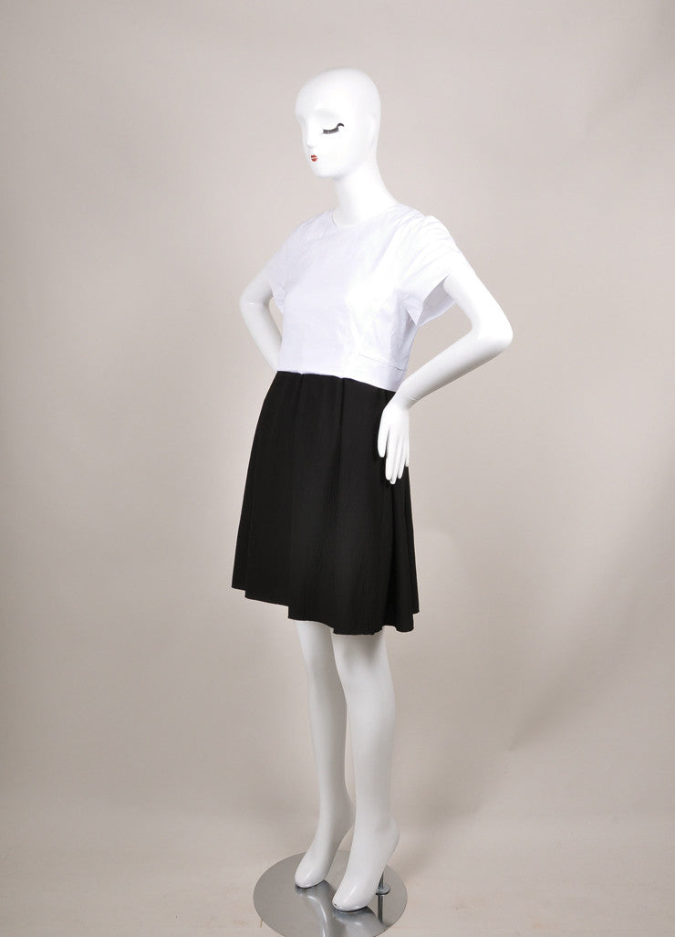 Proenza Schouler New With Tags Black and White Cap Sleeve Crepe Skirt Combo Dress Sideview