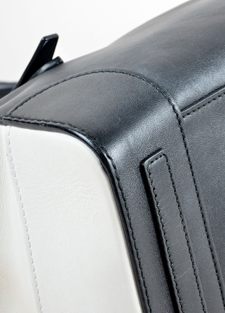 "Ralph Lauren Black and White Leather Color Block ""Soft Ricky"" Bag Detail"