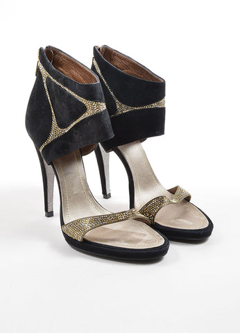Rene Caovilla Black and Taupe Suede Rhinestone Glitter Sandal Heels Frontview
