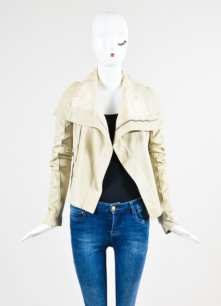Beige Rick Owens Leather Draped Collar Jacket Frontview