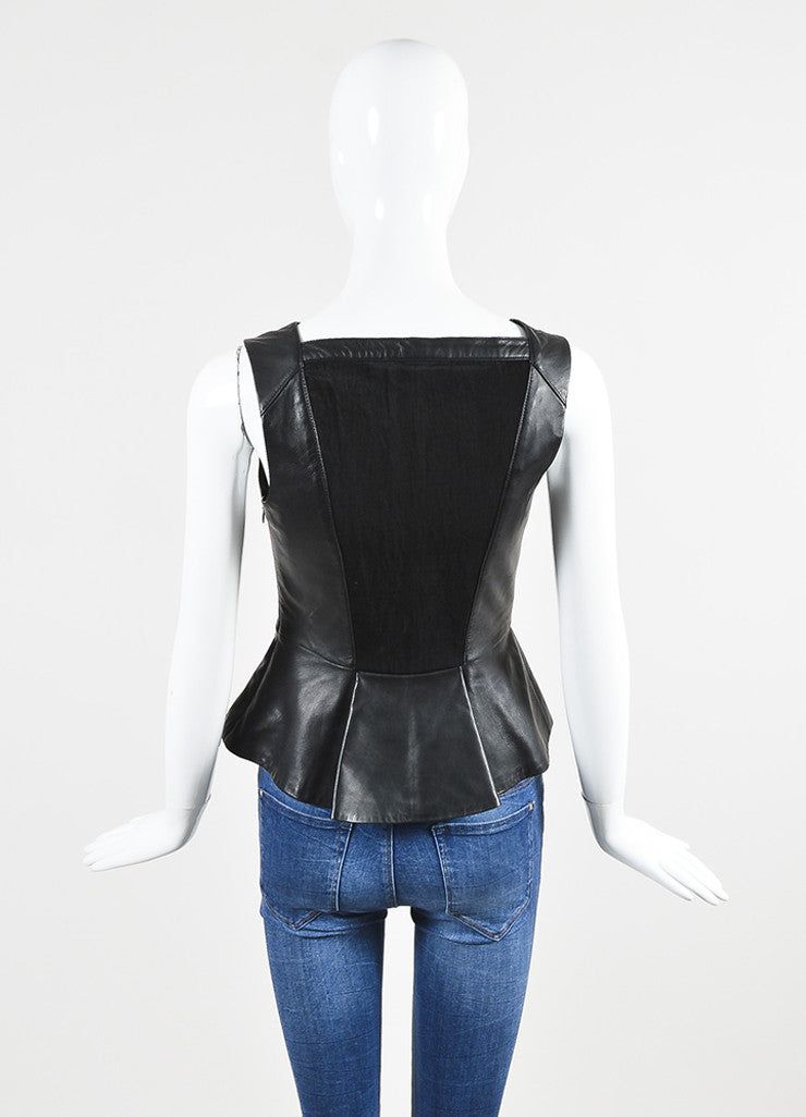 å´?ÌÜRobert Rodriguez Black Leather Sheer Back V-Neck Peplum Sleeveless Top Backview