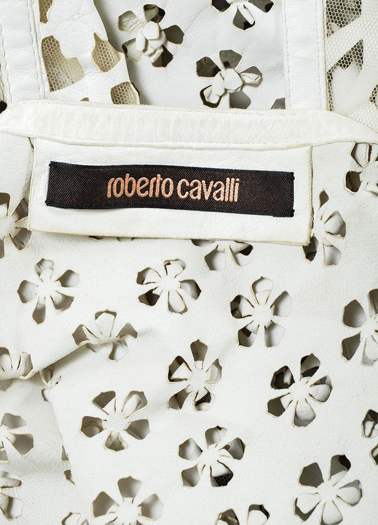 Roberto Cavalli Ivory Leather Perforated Cut Out Vest Brand
