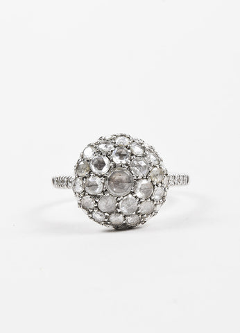 "Roberto Marroni 18K White Gold and Diamond ""Baby Sand"" Cocktail Ring Frontview"