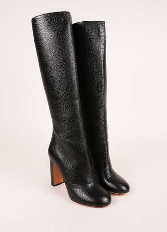 Rochas New In Box Black Pebbled Leather Knee High Stacked Heel Boots Frontview
