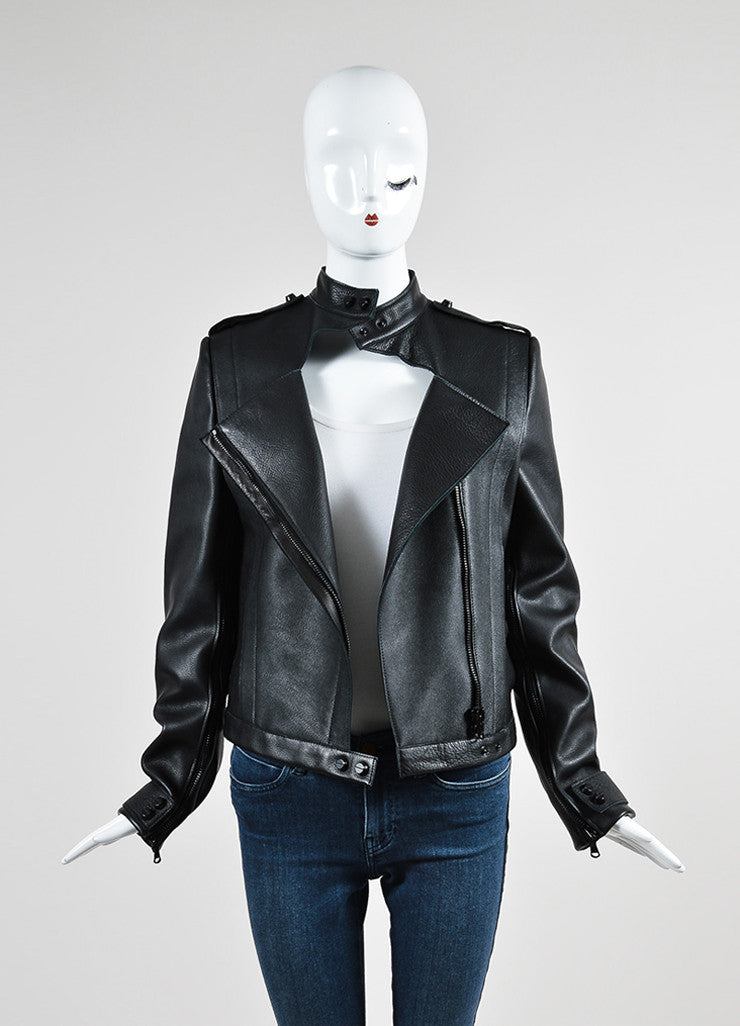 Black Sally Lapointe Leather Asymmetrical Biker Jacket Frontview