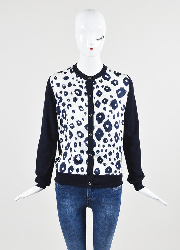 Salvatore Ferragamo Navy Blue and White Wool and Silk Leopard Print Cardigan Frontview