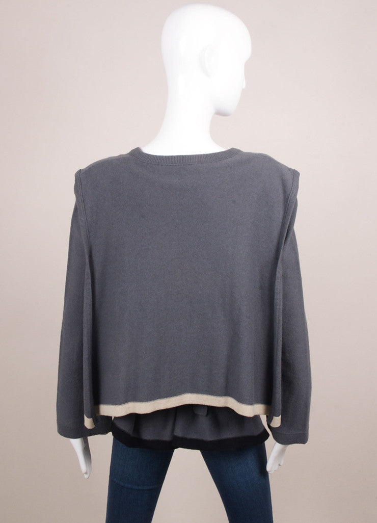 Sonia Rykiel Grey, Black, and White Wool Cape Belted Sweater Backview