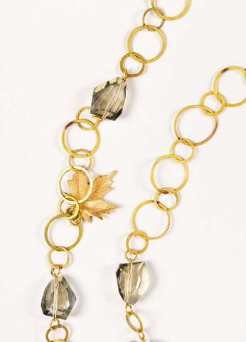 Susanna Galanis Vintage Brass Smokey Crystal Leaf Charm Necklace Detail