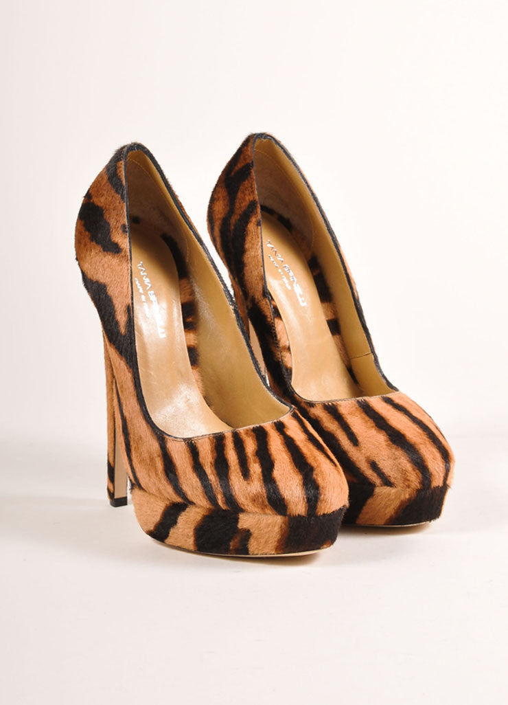Tania Spinelli New In Box Tan and Black Pony Hair Tiger Print Platform Pumps Frontview