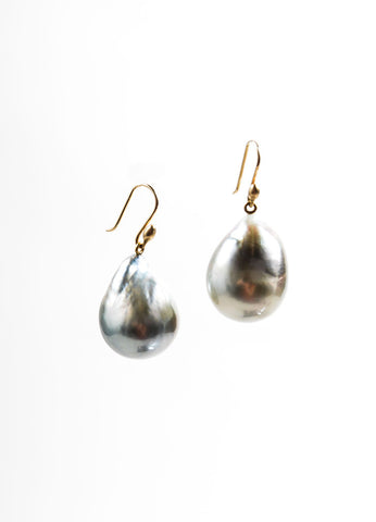 Ted Muehling 14K Gold and Grey Baroque Tahitian Pearl Drop Earrings Backview