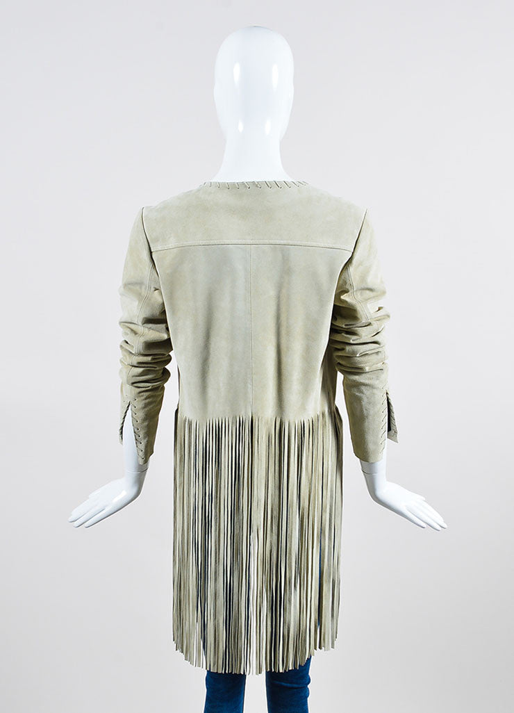 "The Perfext Beige Suede Laced ""Christy"" Long Fringe Jacket Backview"