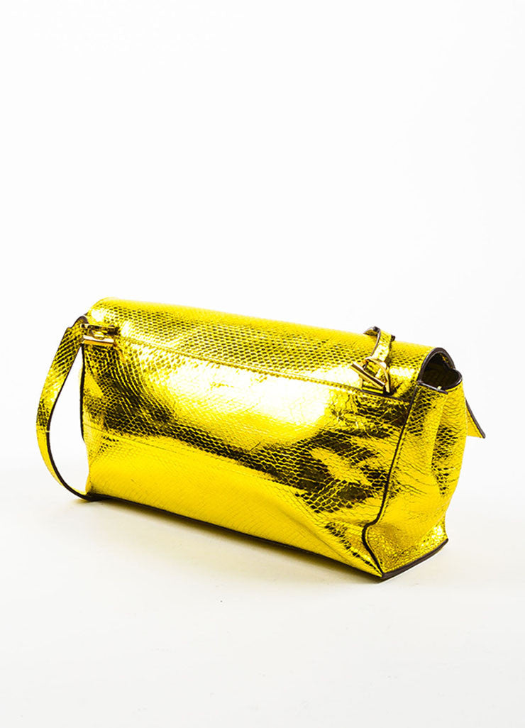 The Row Gold and Yellow Metallic Python Small Flap Bag Sideview