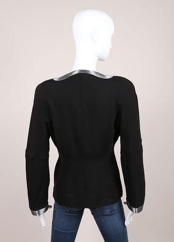Thierry Mugler Black Collarless Silver Trim Blazer Backview