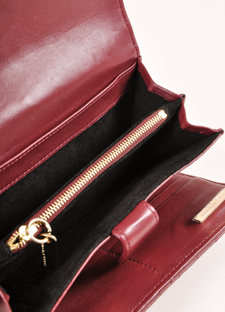 Thomas Wylde New With Tags Burgundy Leather Gold Toned Skull Studded Snap Wallet Interior 2