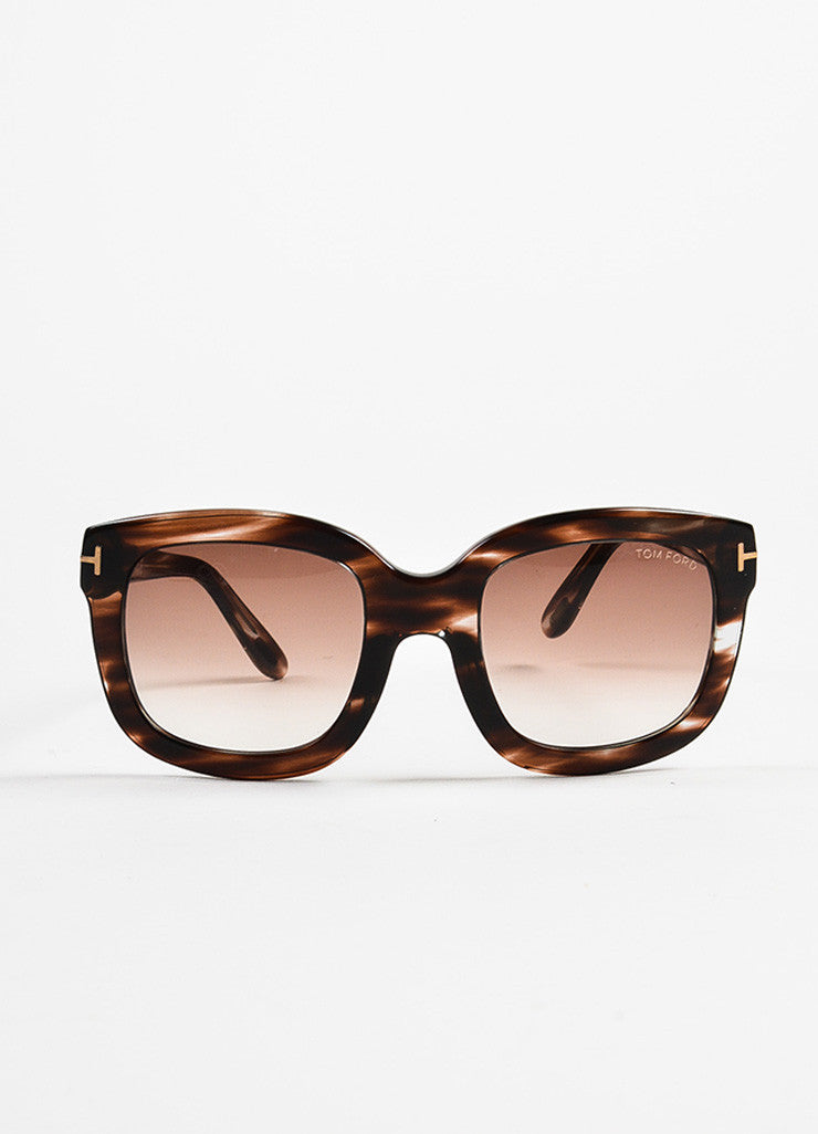 "Brown Tom Ford Striped Frame Ombre Lens Square ""Christophe"" Sunglasses Front 2"
