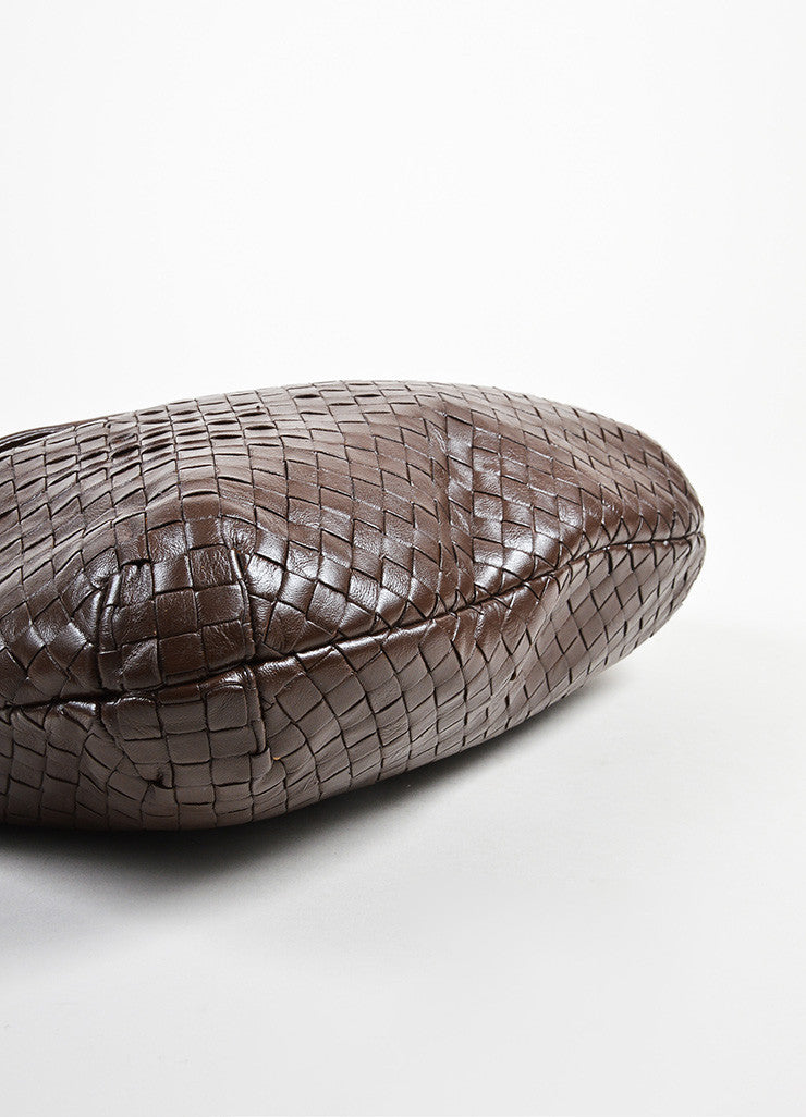 Bottega Veneta Brown Woven Leather Shoulder Bag Bottom View