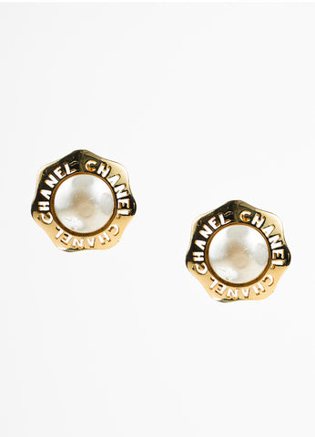 Chanel Gold Toned and Faux Pearl Cut Out Wavy Button Clip On Earrings Frontview