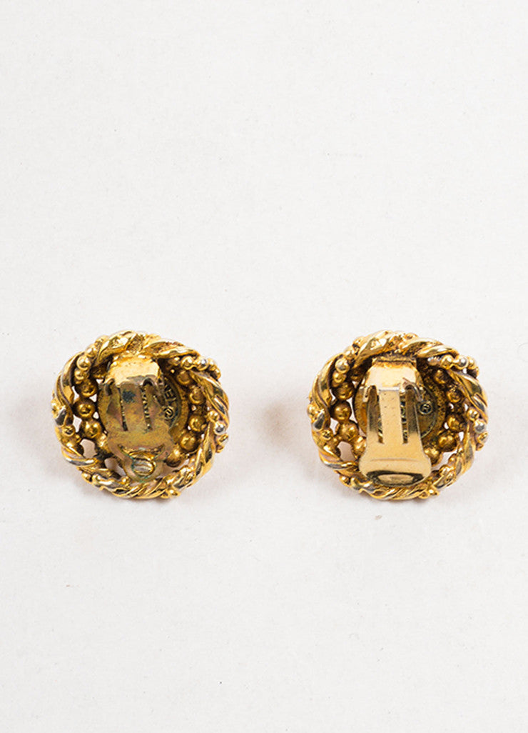 Chanel Gold Toned and Faux Pearl Textured Round Earrings Backview