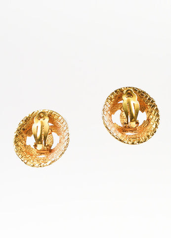 Chanel Gold Toned Textured Basketweave 'CC' Logo Clip On Earrings Backview