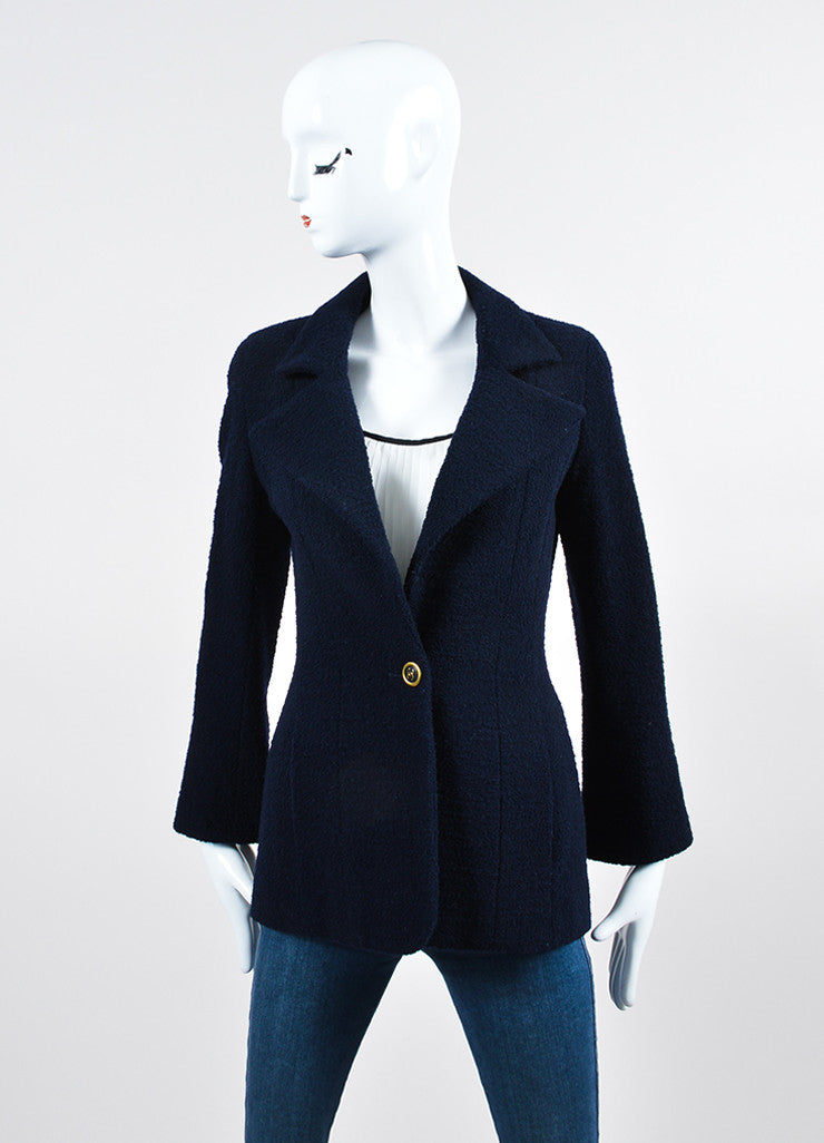 Navy Blue Chanel Wool Boucle 'CC' Button Blazer Frontview 2