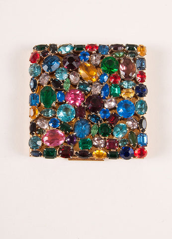 Elgin American Gold Toned and Multicolor Rhinestone Compact Mirror Topview
