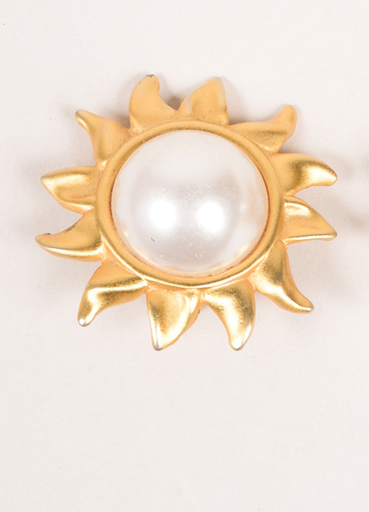 Vintage Gold Tone Cream Faux Pearl Embellished Sun Oversized Clip On Earrings Single