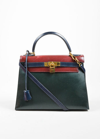 Green, Maroon and Navy Hermes Leather 28cm Kelly Handbag Front