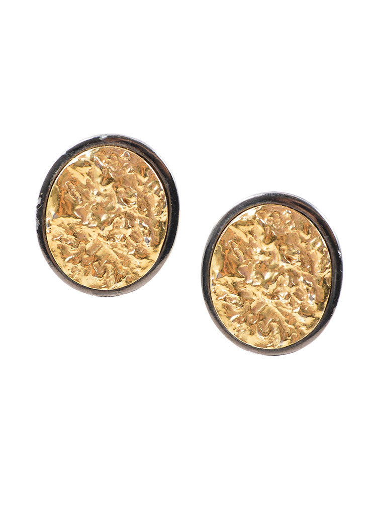 VINTAGE Yves Saint Laurent YSL Gold Toned and Pewter Toned Foiled Clip On Earrings Front